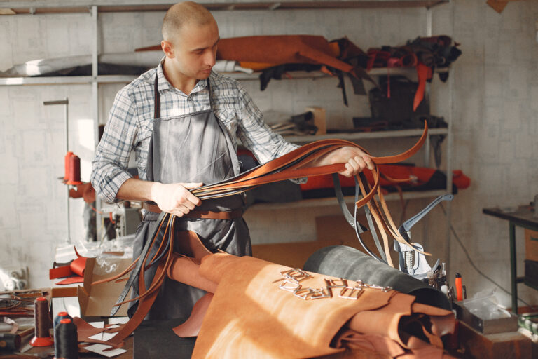 Man manufacture leather ware