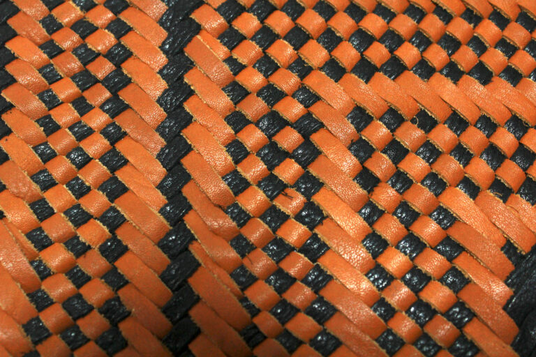 Black-Brown Woven Leather