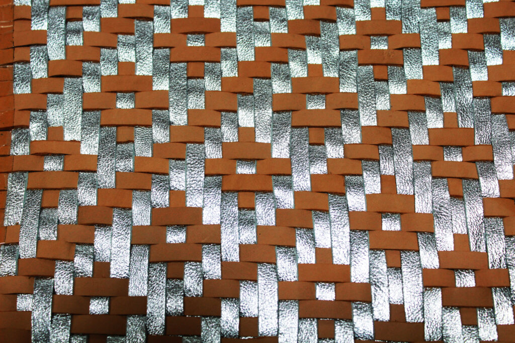 Brown-Silver Woven Leather Pattern