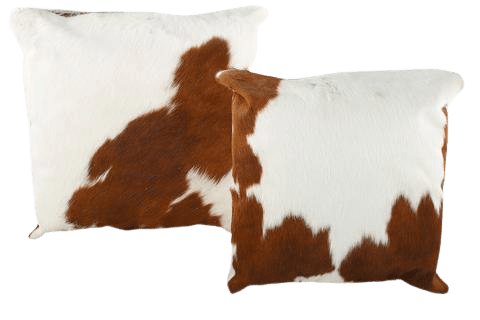 BROWN AND WHITE COW HIDE PILLOW MANUFACTURER- INDIAN LEATHER MANUFACTURER