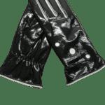 Black foil leather gloves- INDIAN LEATHER MANUFACTURER